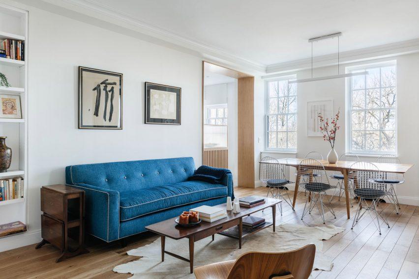 Living room of riverside apartment