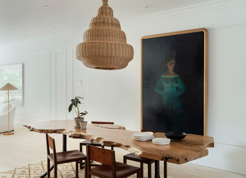 The Sackett Street townhouse's dining room with bespoke table and artwork