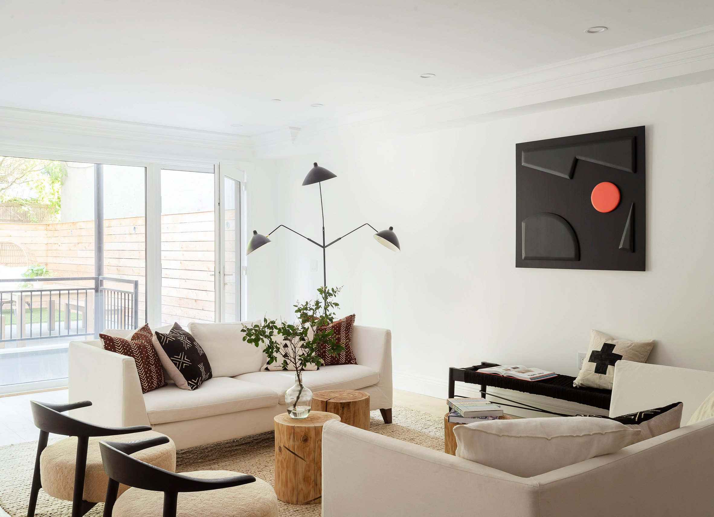 The Sackett Street townhouse's bright and airy living room