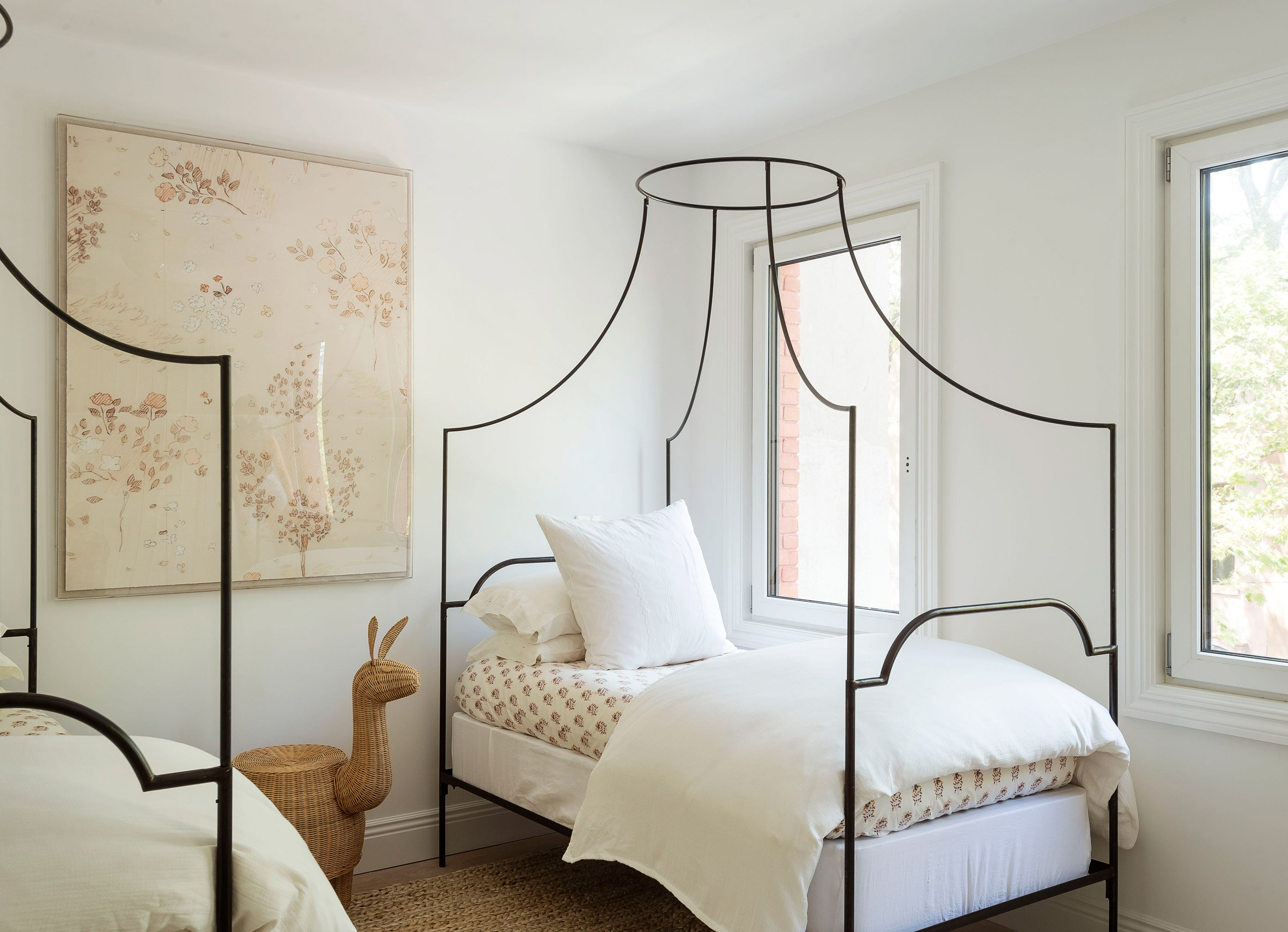 The Sackett Street townhouse's children's bedroom with bespoke twin beds