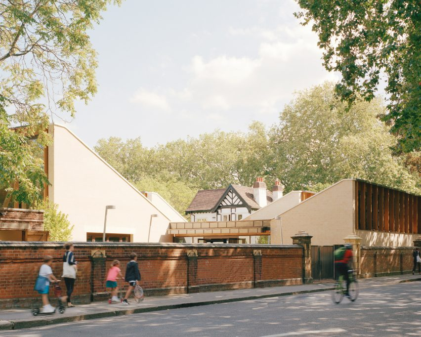 Sloping roofs of Sands End Arts and Community Centre by Mae Architects