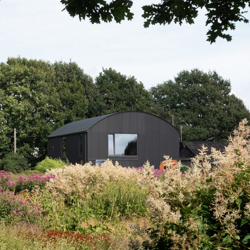 Barrel-vaulted barn atMorlands Farm in West Sussex by Sandy Rendel Architects