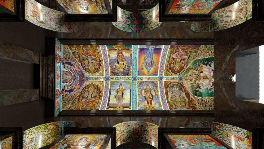 Ceiling in Sri Mariamman Temple