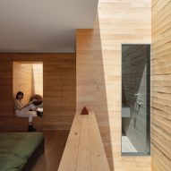 Wood-clad interior of Zecc Architecten house
