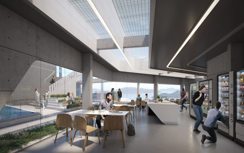 A co-living space inside the Student Residence Development at HKUST by Zaha Hadid Architects