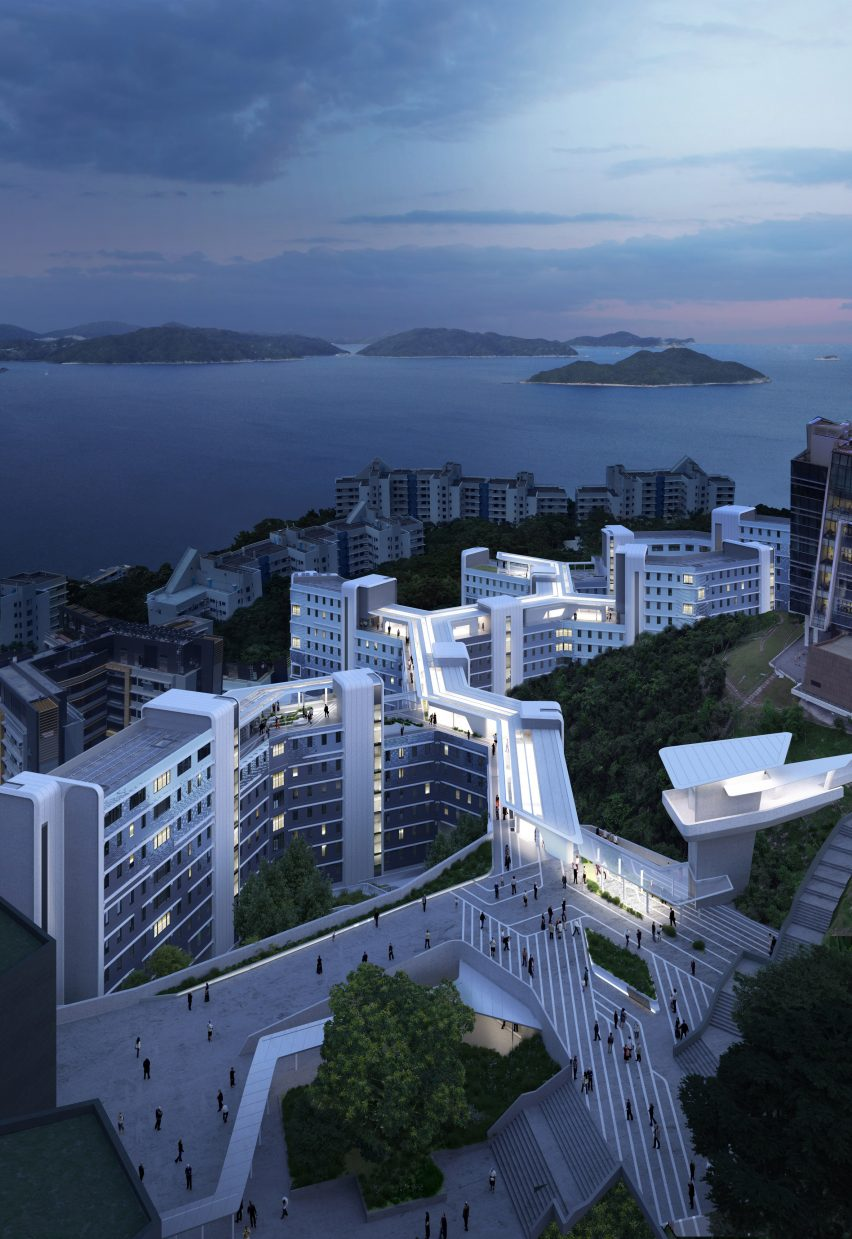 The rooftop walkway of the Student Residence Development at HKUST by Zaha Hadid Architects