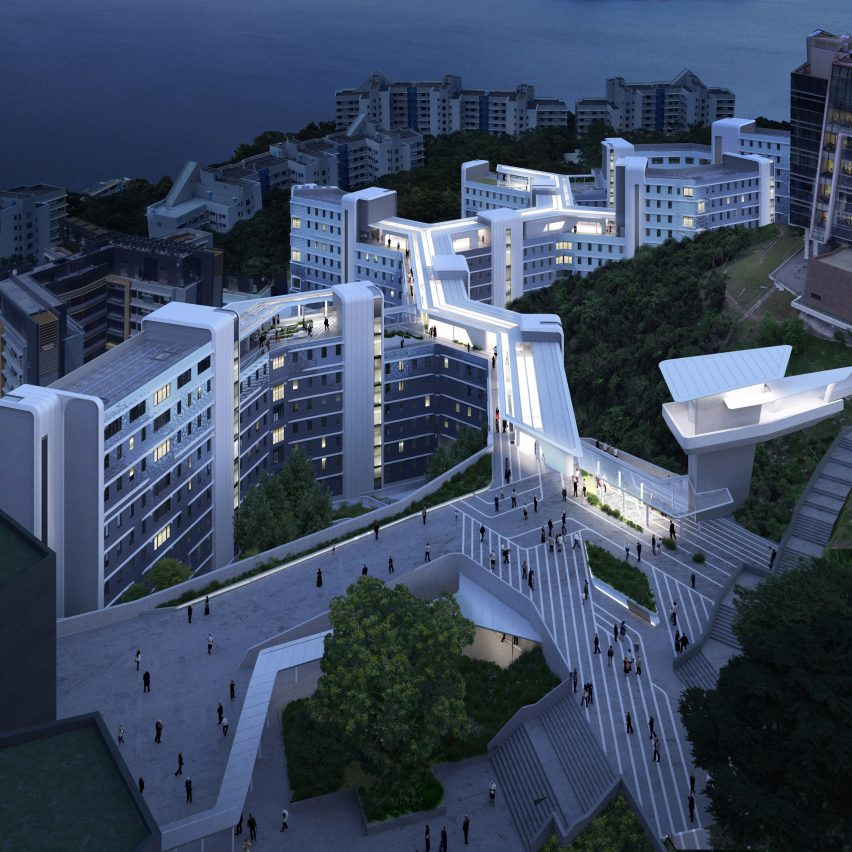 An aerial visual of The rooftop walkway of the Student Residence Development at HKUST by Zaha Hadid Architects