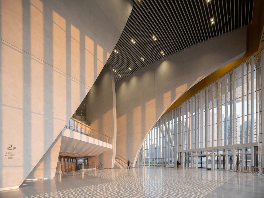 The entrance to the theatre of the Suzhou Bay Cultural Center by Christian de Portzamparc