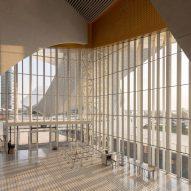 A lobby of the Suzhou Bay Cultural Center by Christian de Portzamparc