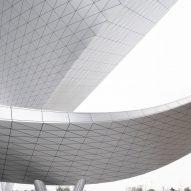 The metallic ribbon of the Suzhou Bay Cultural Center by Christian de Portzamparc