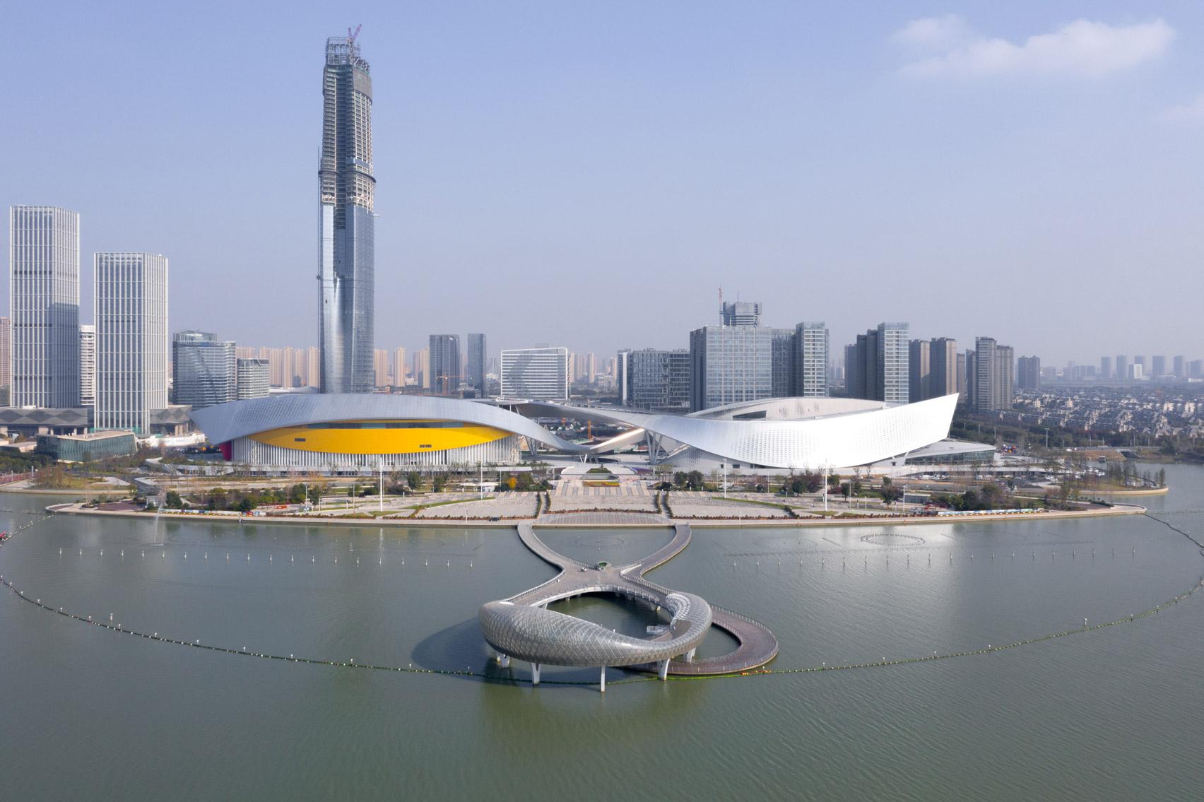 The exterior of the Suzhou Bay Cultural Center by Christian de Portzamparc