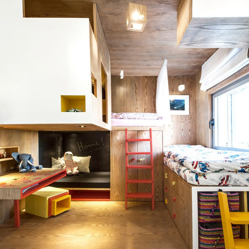 Bedroom with plywood cabin
