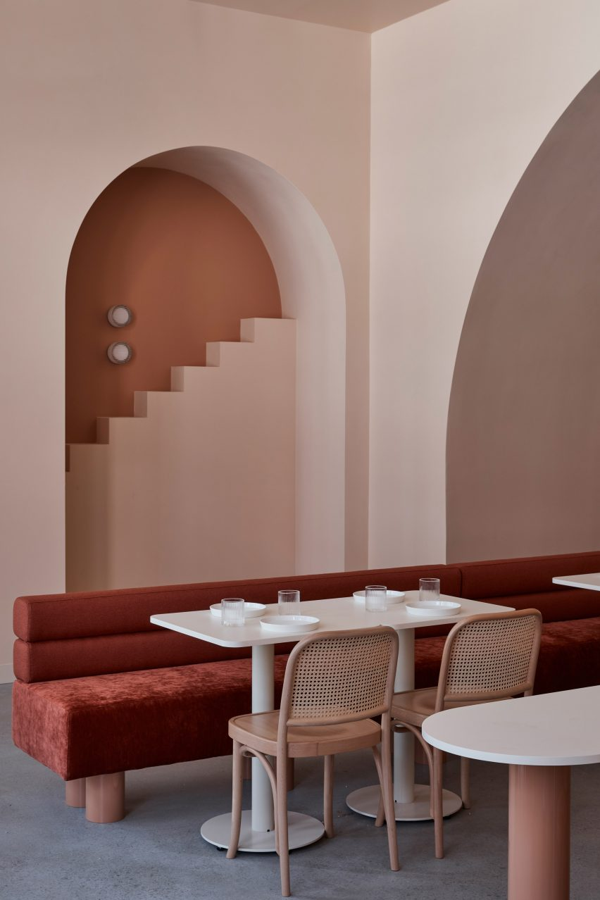 Pink room at The Budapest Cafe by Biasol