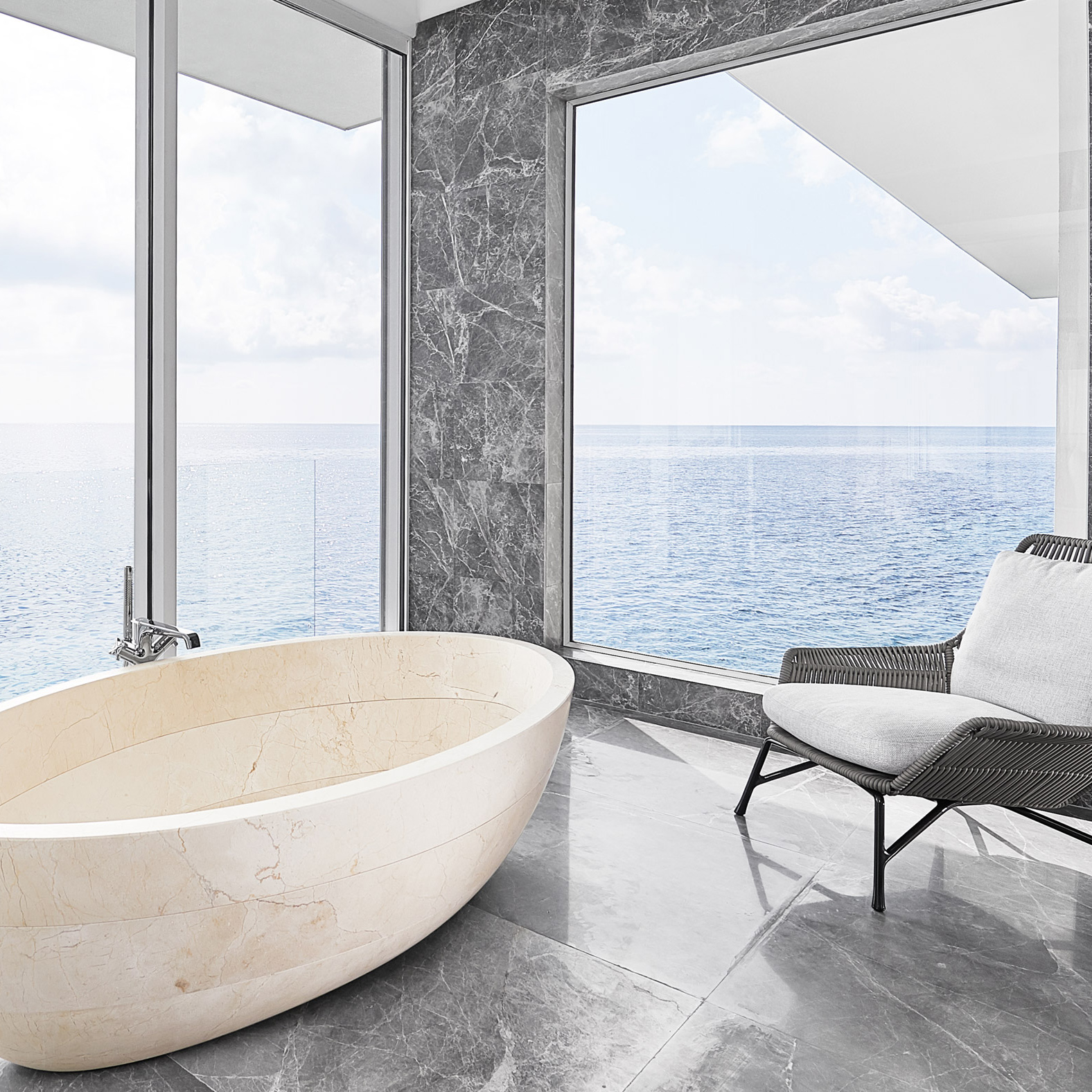 Bath room design with sea views