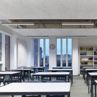 Classrooms with windows looking to victorian structures