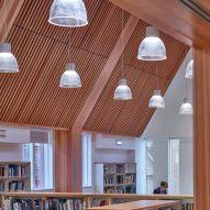Pendant lighting in library