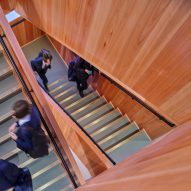 Timber clad stairwell inside the new design