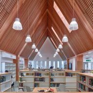 Timber lined ceiling in library