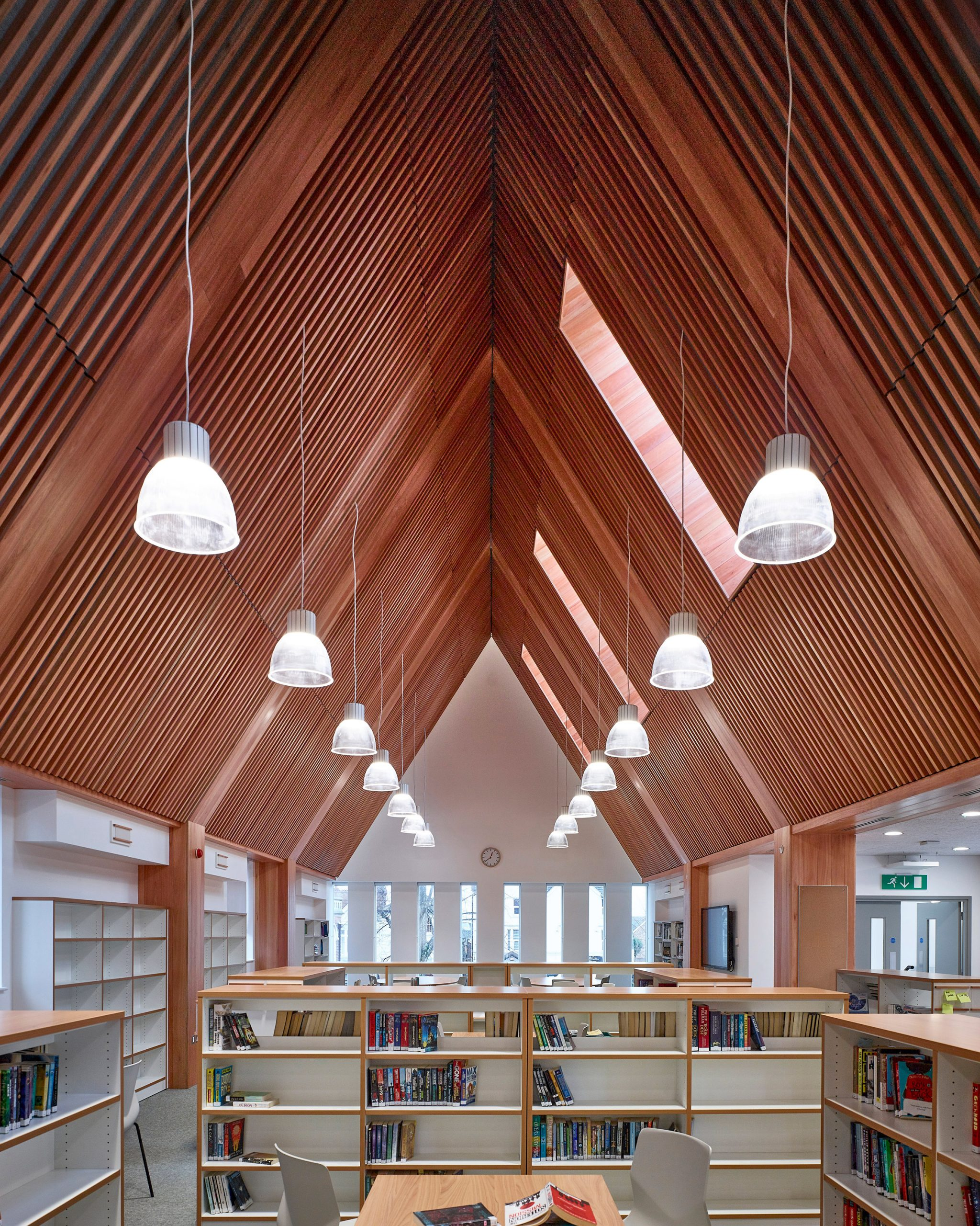 Library in roof of new build by Bell Phillips Architects