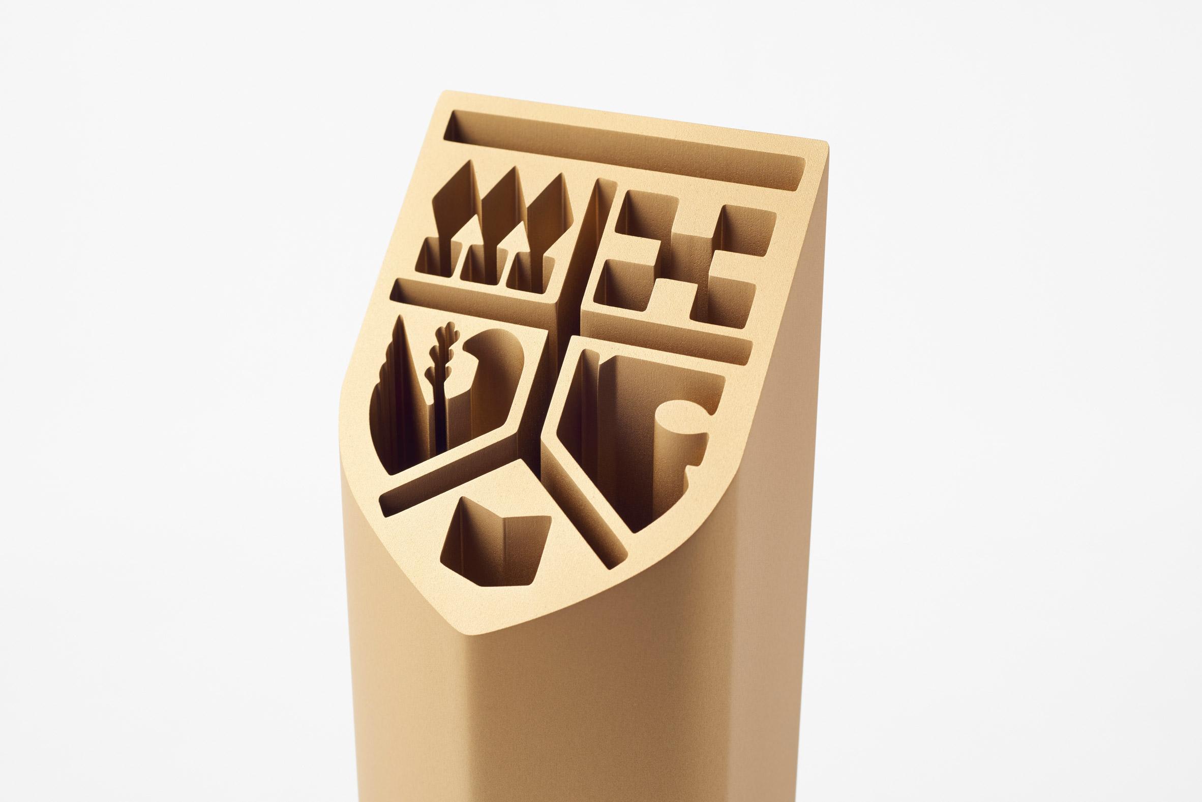 UNIVAS logo on trophy by Nendo