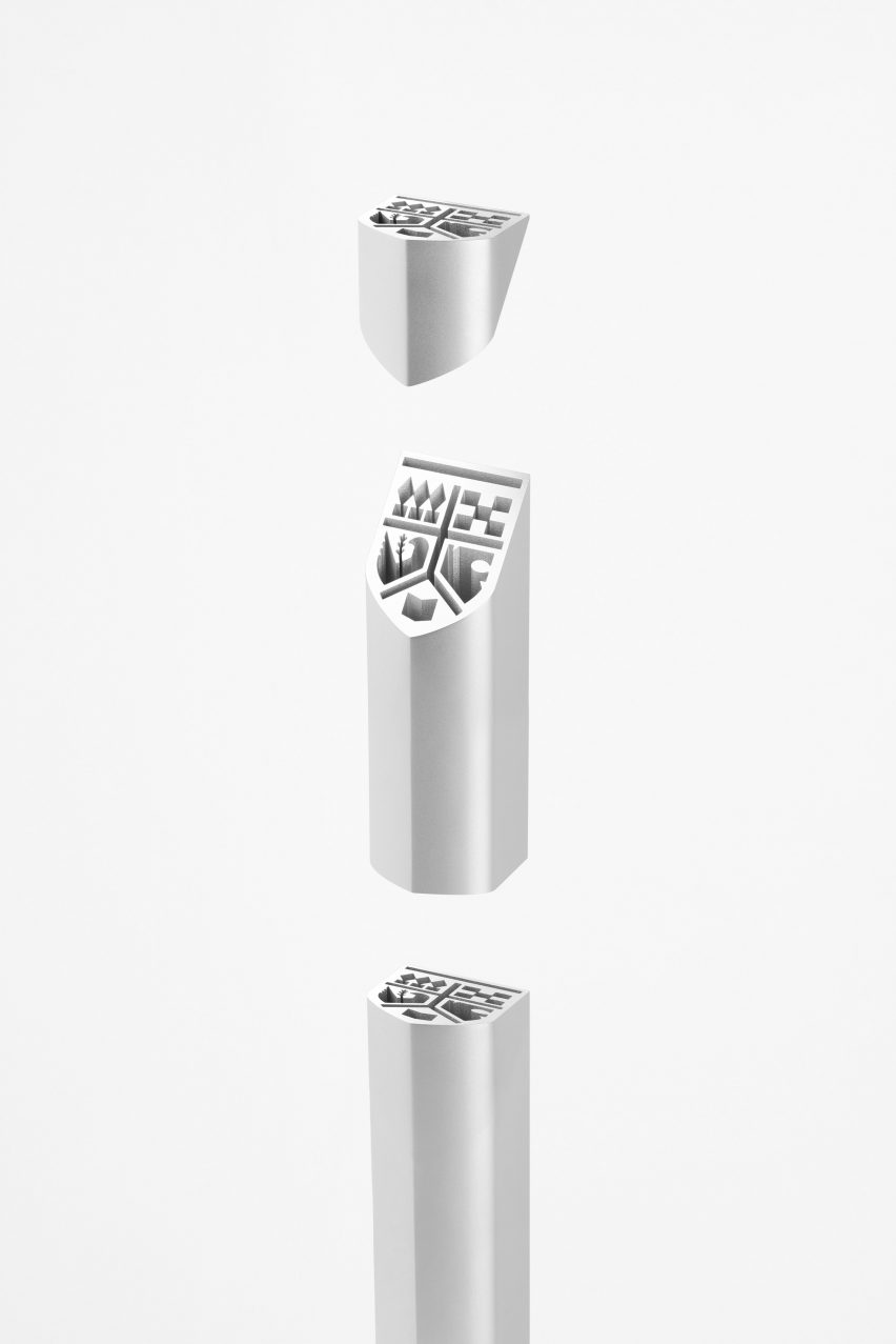 Silver awards trophy by Nendo for UNIVAS