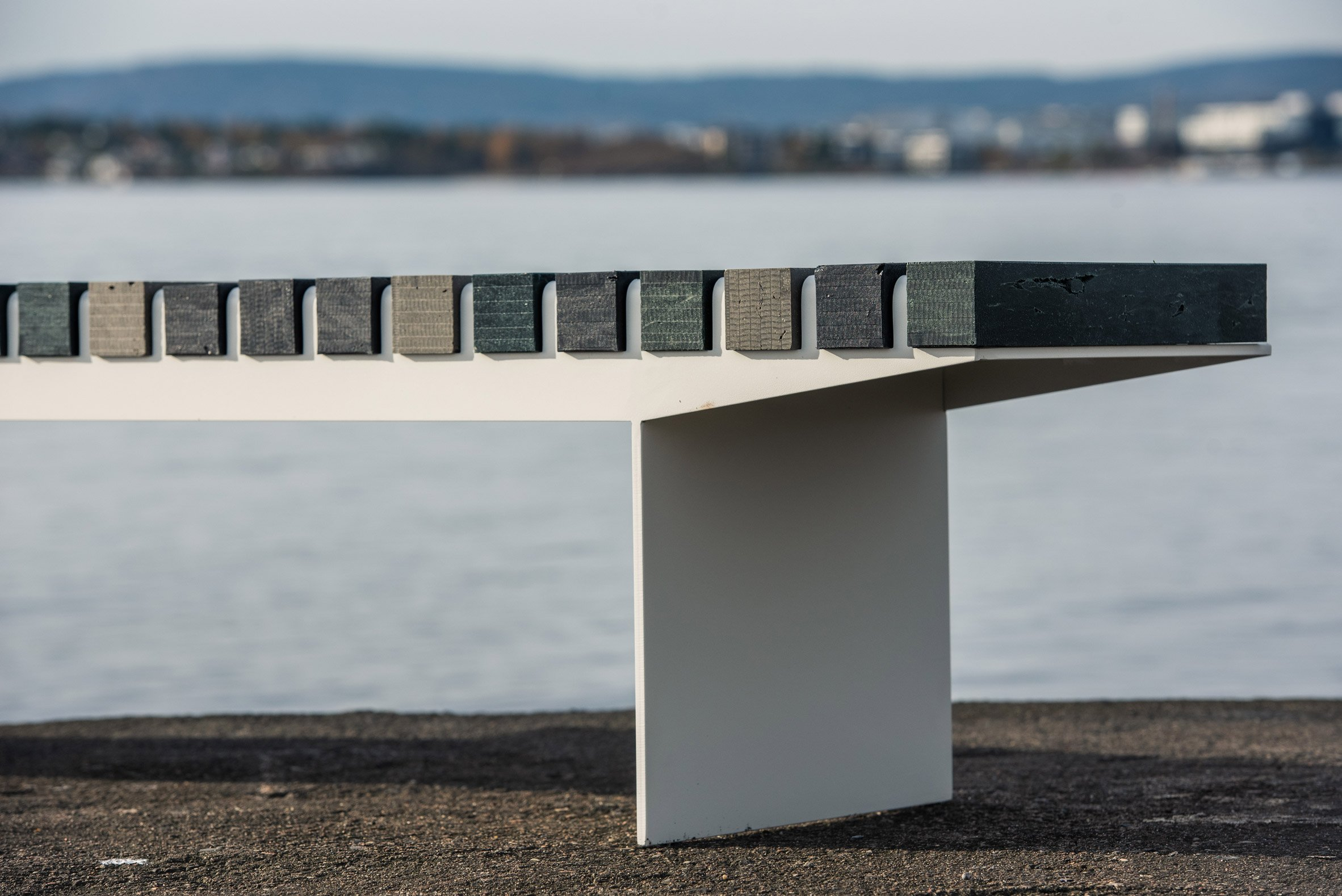 Side view of Coast bench by Vestre