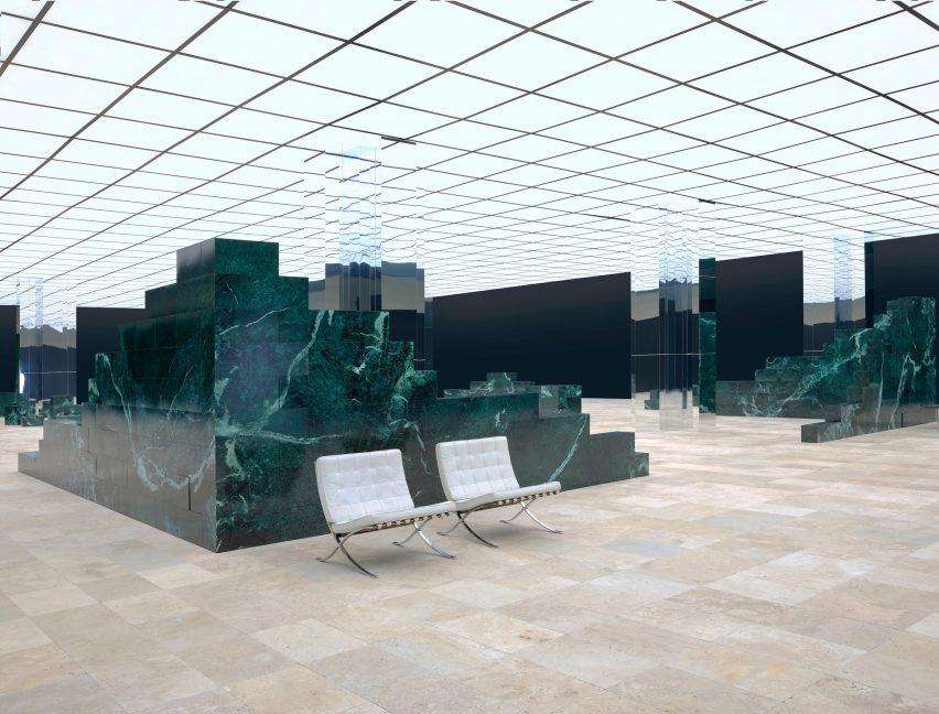 Barcelona Pavilion-informed set for Louis Vuitton