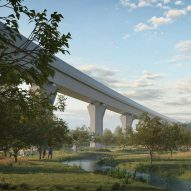 "Weston Williamson + Partners designs HS2 viaducts above ""community-led orchard"""