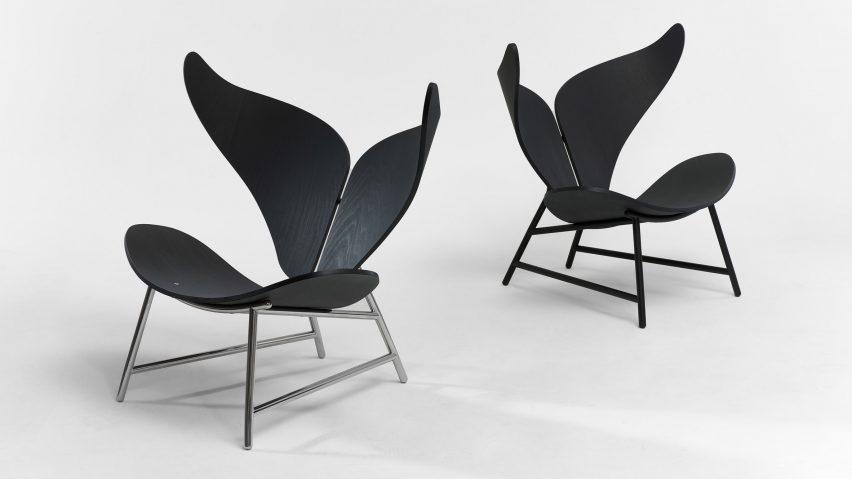 Two hardware finish versions of the chair