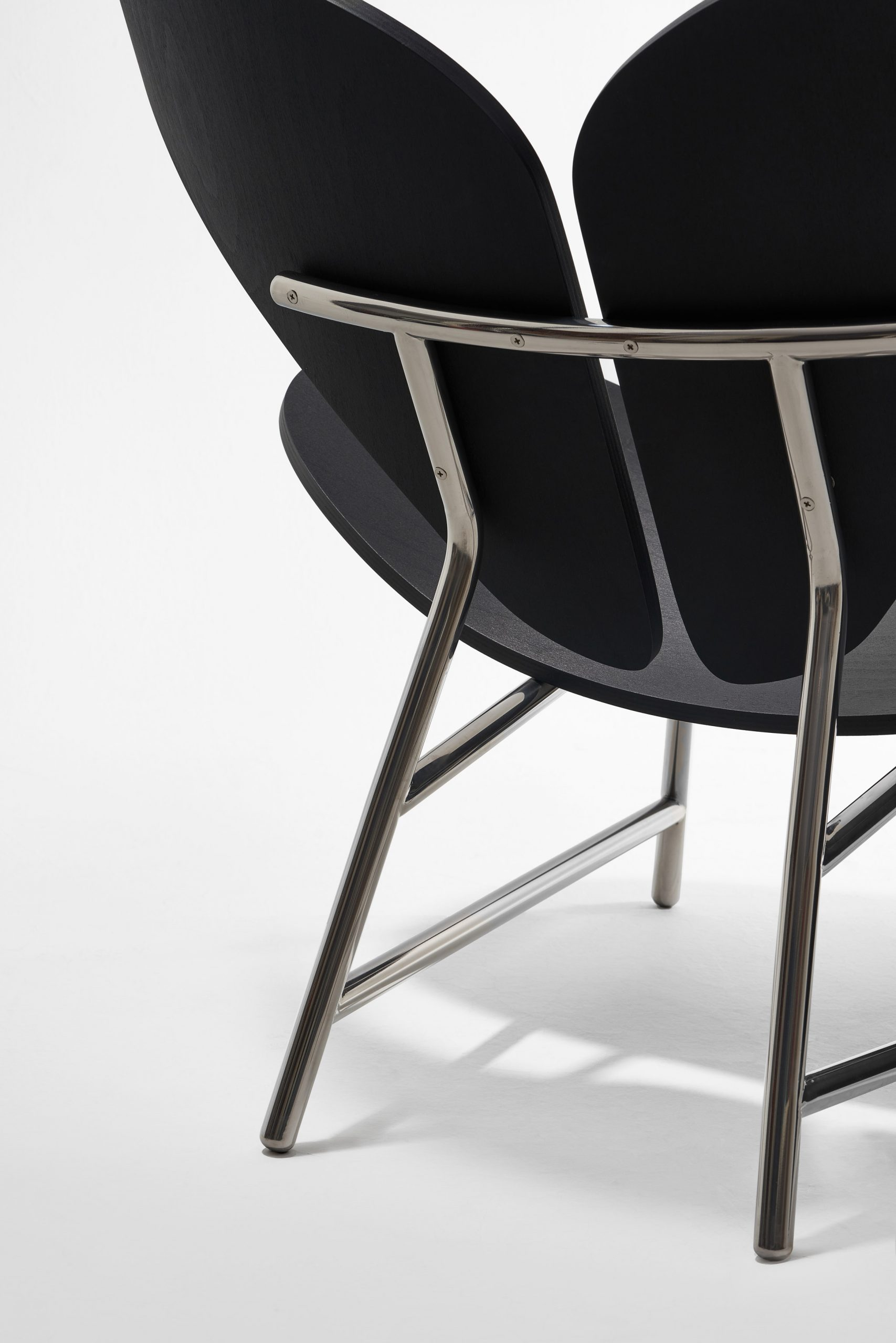 Stainless steel hardware on chair