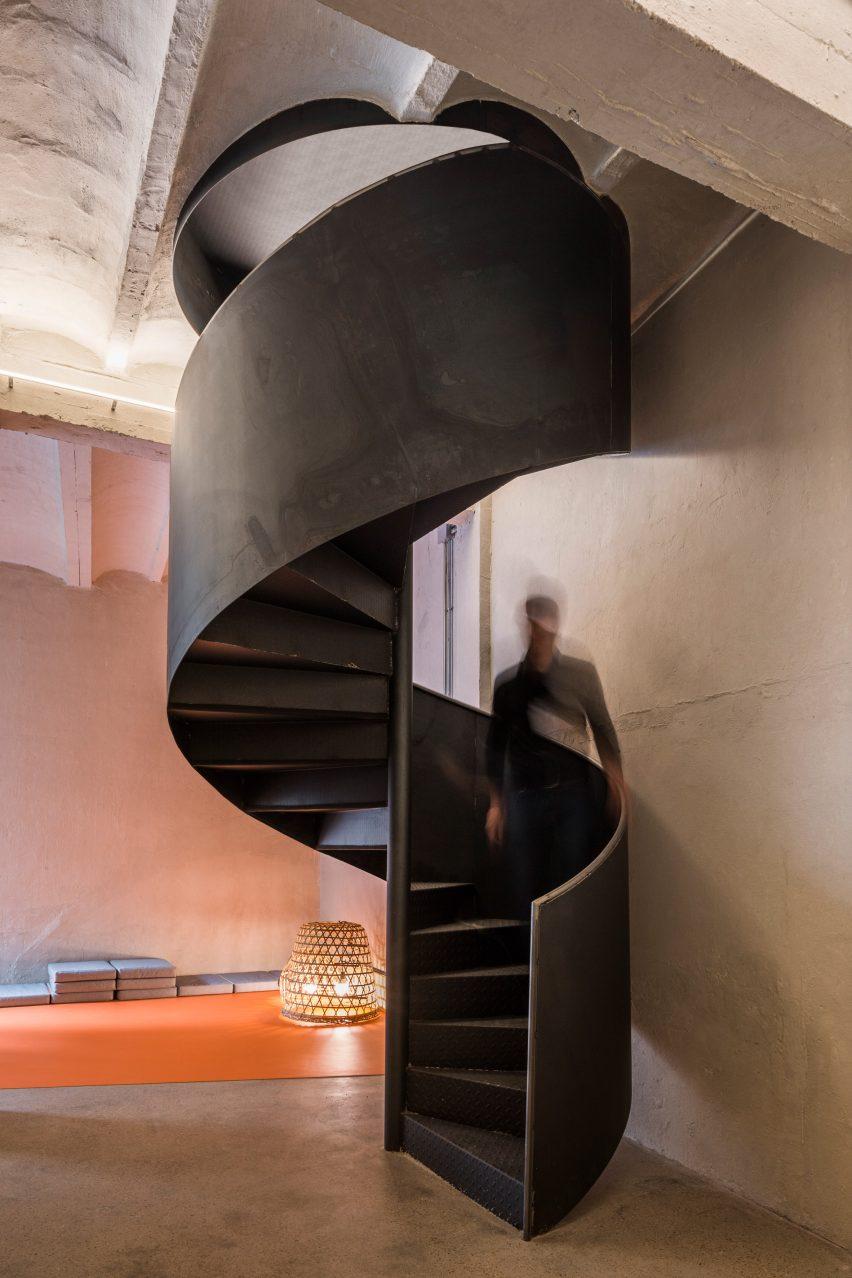 Spiral staircase at the Yoglar Music School