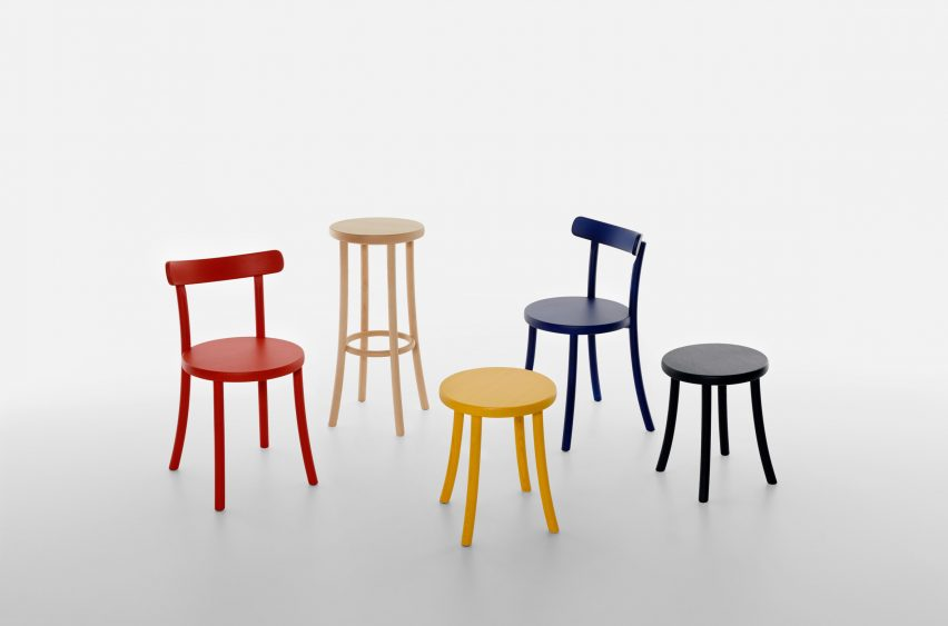 Zampa chairs and stools by Jasper Morrison for Mattiazzi