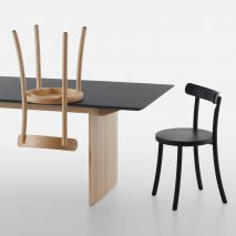 Zampa chair in black and wood by Jasper Morrison for Mattiazzi
