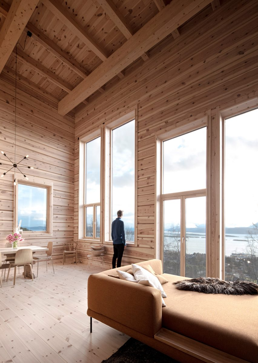 Living room with views of the fjord