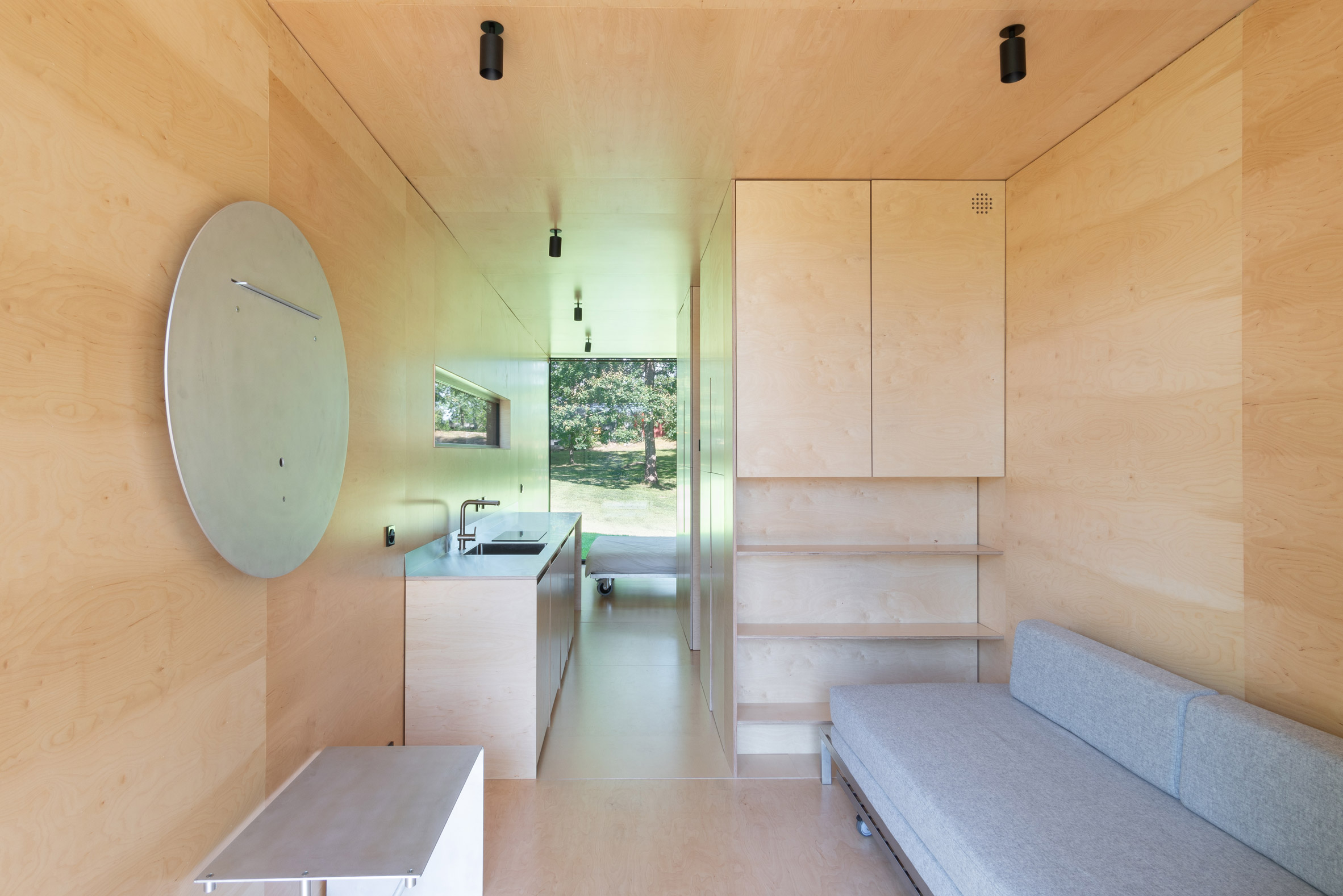 Plywood interior of 019 Cabin by ŠA Atelier and Piritas