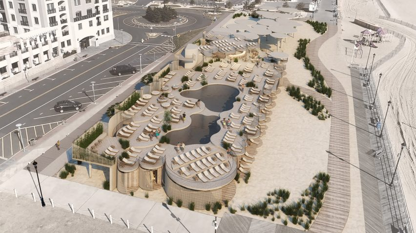 An aerial view of the development