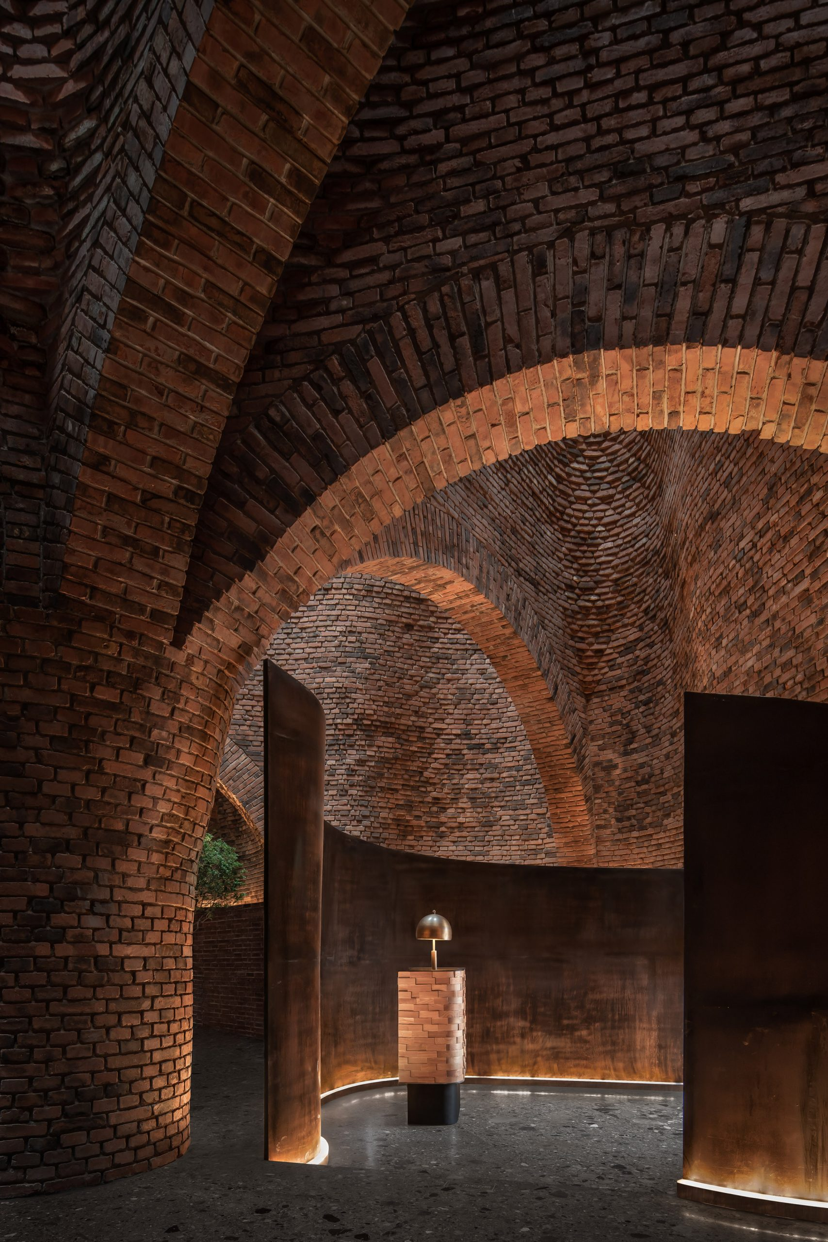 A red-brick restaurant interior