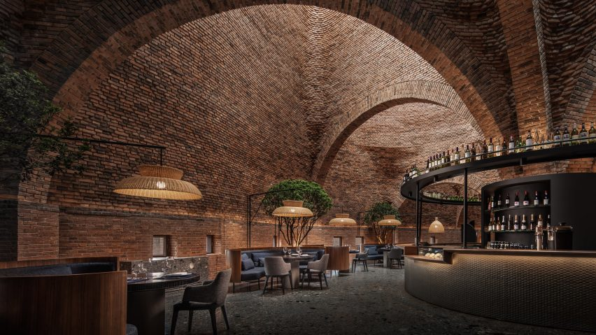 The red-brick interiors of the 50% Cloud Artists Lounge by CCD