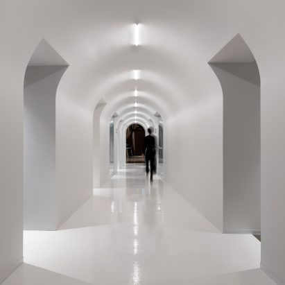 A white corridor in Lightspeed's offices