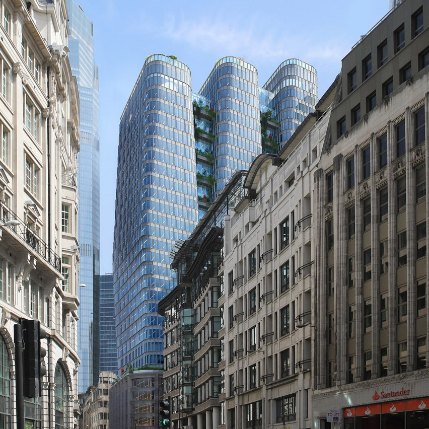 A visual of a trio of skyscrapers in east London