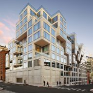 Irregularly stacked cubes form exterior of ODA apartment building in Dumbo