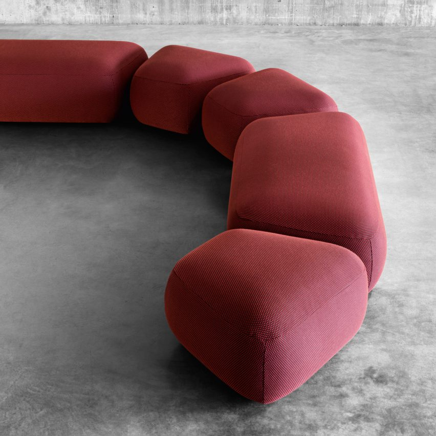 Backless seating modules arranged into a sofa