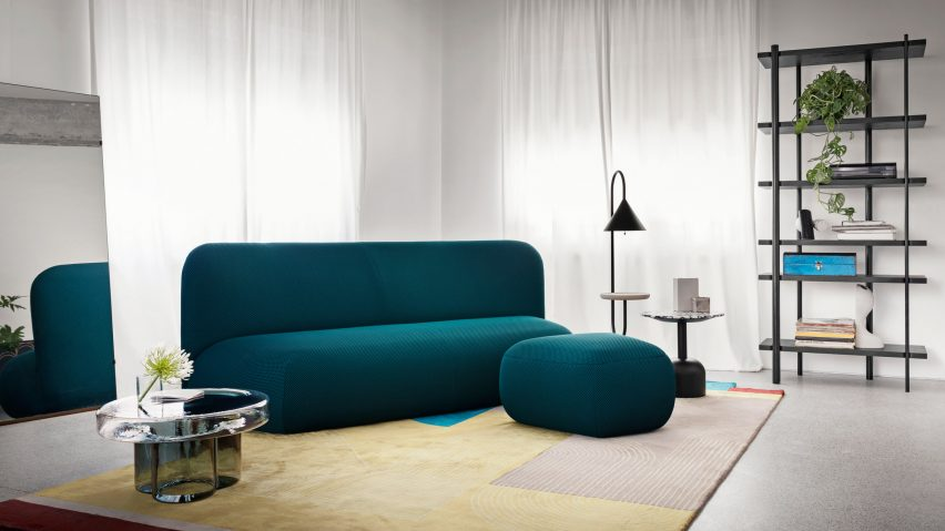 Sofa and pouf from the Botera Collection by Miniforms in an interior