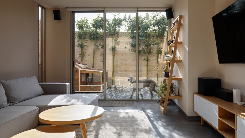 A courtyard view from inside the home