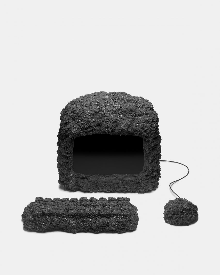 Desktop computer and mouse made of coal