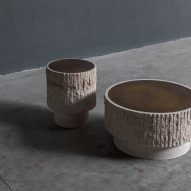 Ambigue pedestal and coffee table by Frederic Saulou
