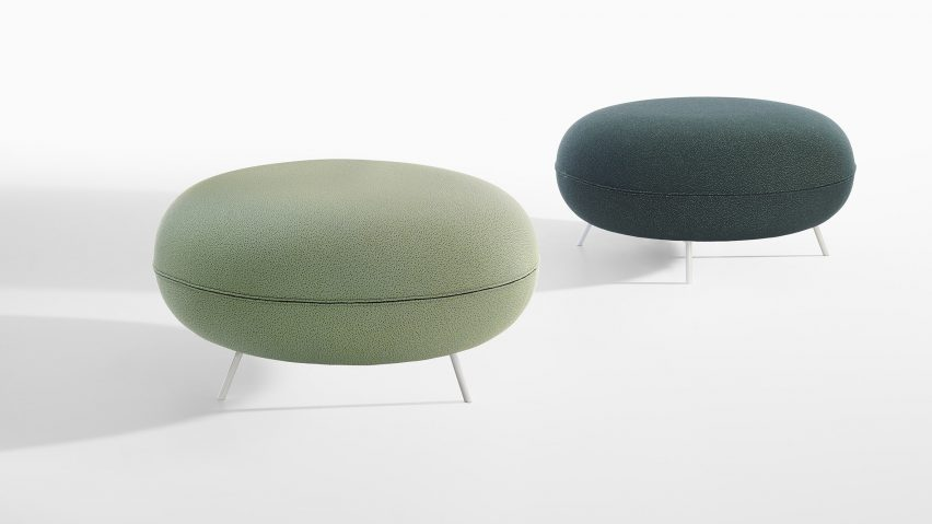 Green ottomans designed by Raffaella Mangiarotti for IOC Project Partners