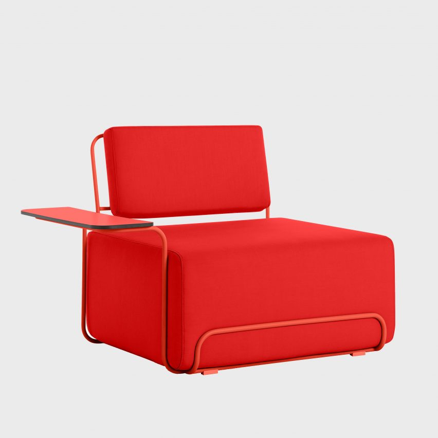Lilly seat by Democràcia Estudio in red with armrest
