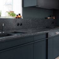 Terrazzo is used for the counter tops