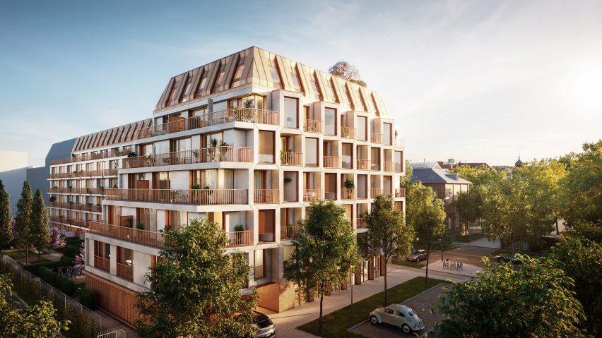 Corner view of the modular housing proposal